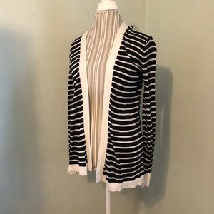 LOFT Open Striped Cardigan M